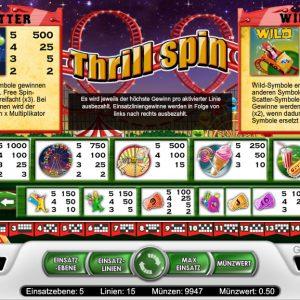Thrill Spin Funktionen