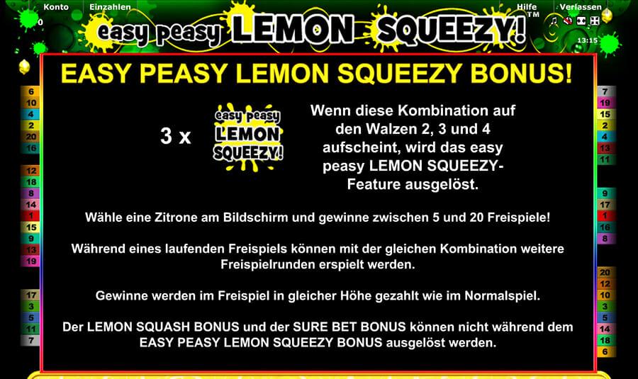 Novoline Easy Peasy Lemon Squeezy Bonus