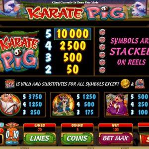 Karate Pig Gewinntabelle