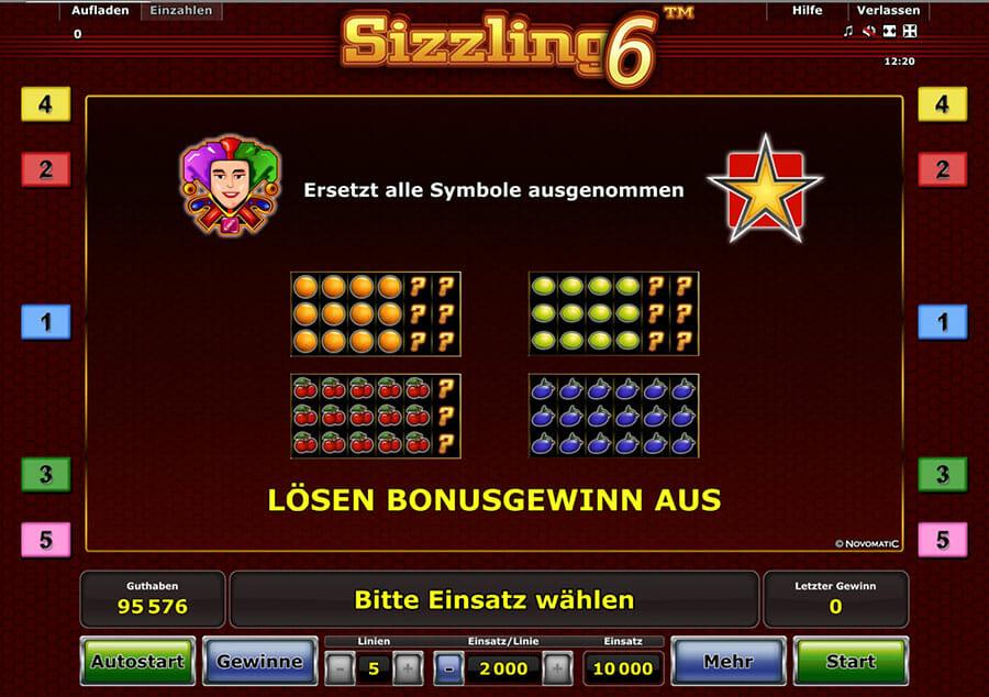 Sizzling 6 Bonus