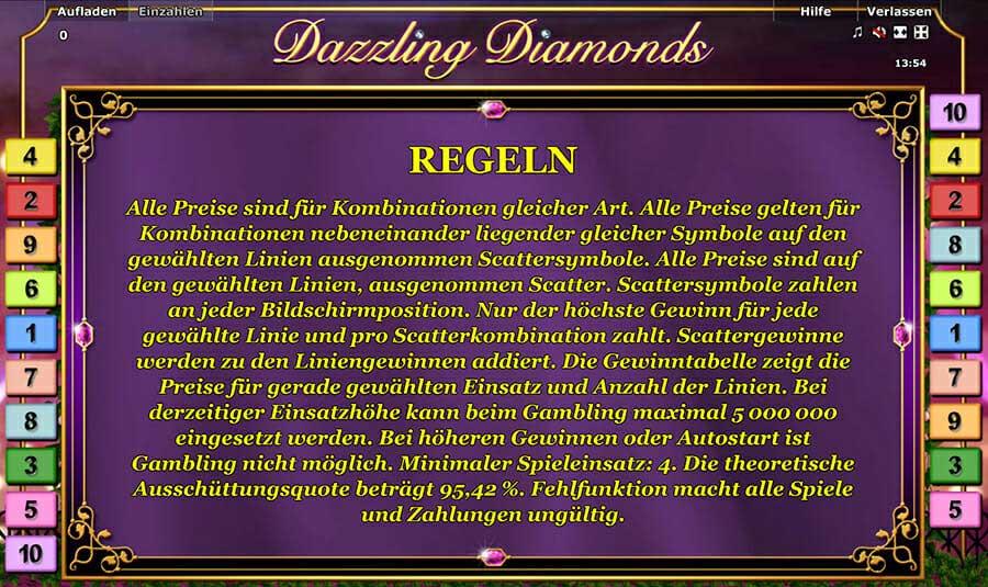 Novoline Dazzling Diamonds Regeln