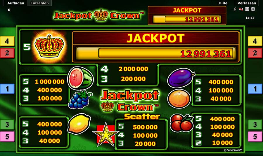 Novoline Jackpot Crown Gewinne