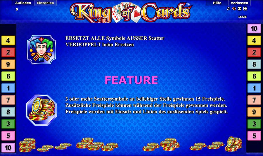 Novoline King Of Cards Feature