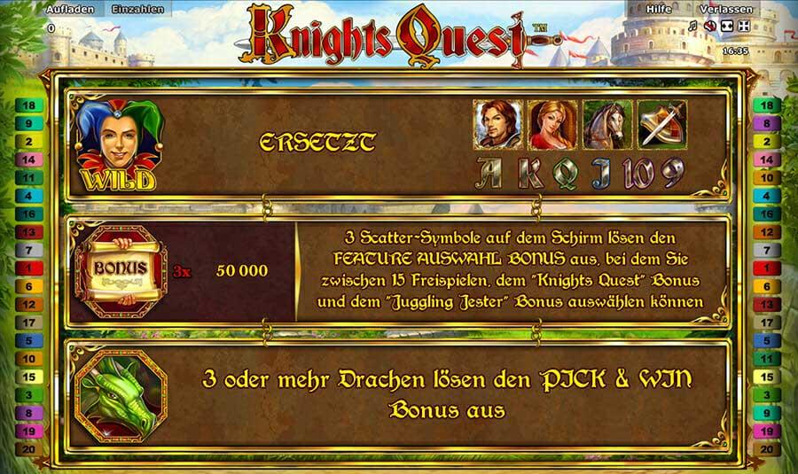 Novoline Knights Quest Bonus
