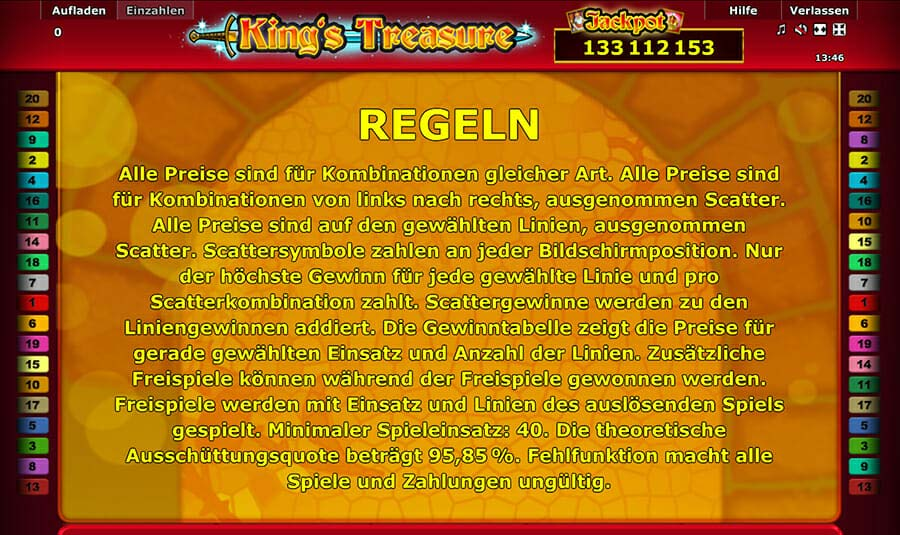 Novoline Kings Treasure Regeln