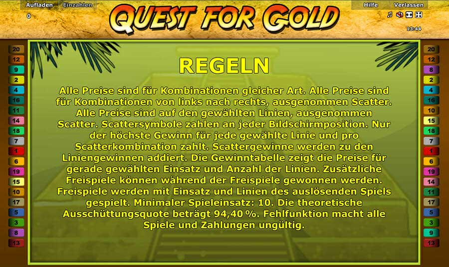 Novoline Quest For Gold Regeln