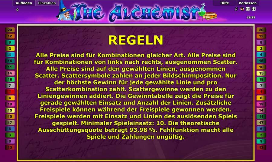 Novoline The Alchemist Regeln