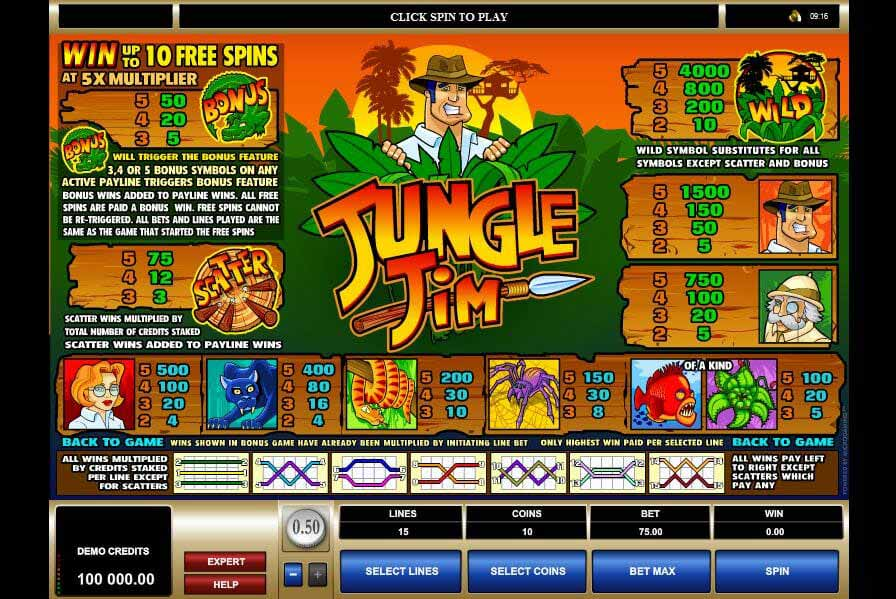 Jungle Jim Gewinntabelle