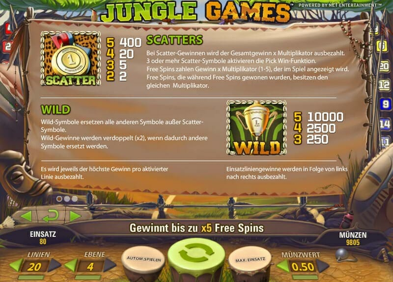 Jungle Games Features