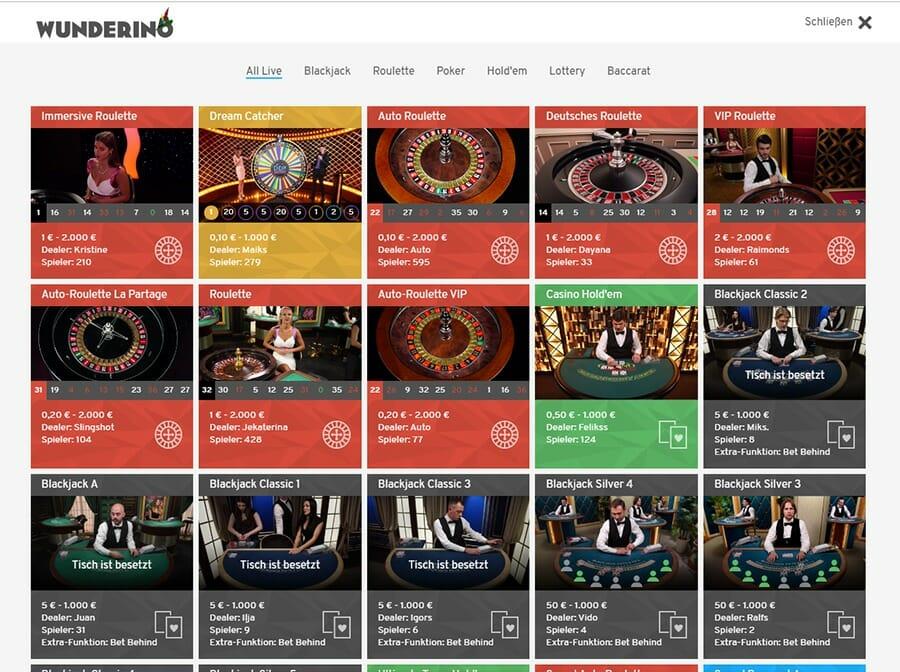 Wunderino Casino Live Casino