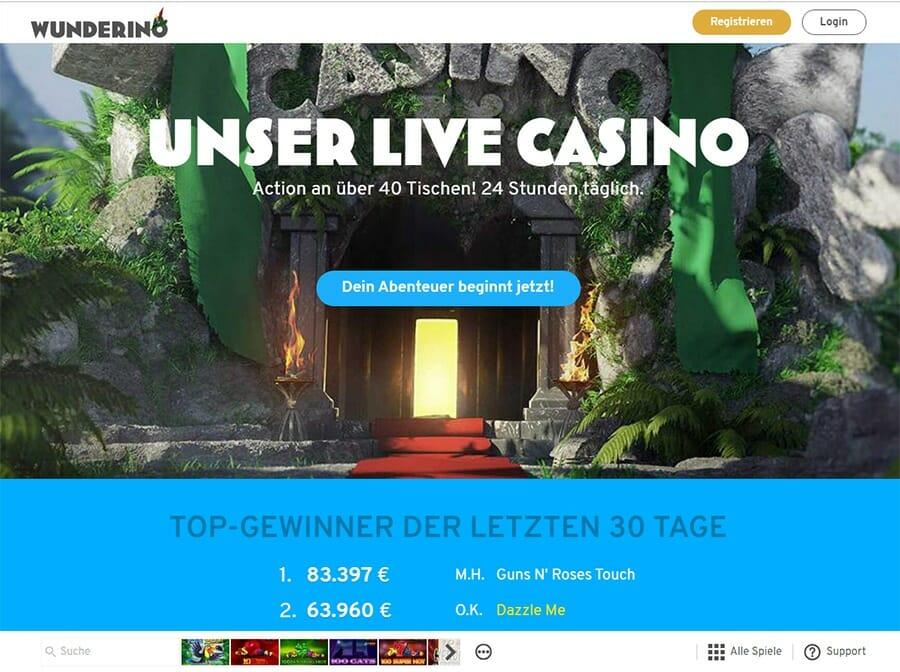 Wunderino Casino Live Vorschau