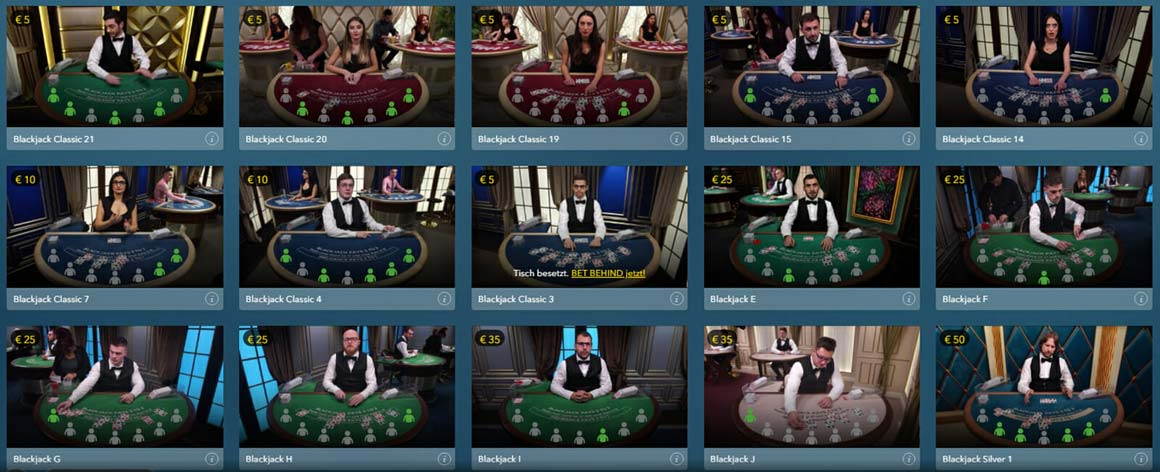 Live Casino Blackjack im Casino Hero