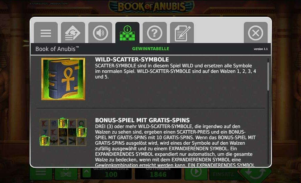 Book Of Anubis Bonus Funktion