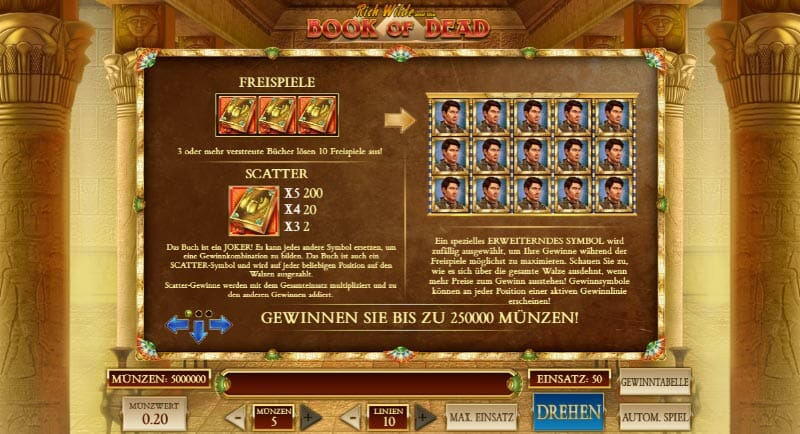 Book Of Dead Gewinntabelle Bonus
