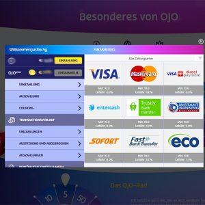 PlayOJO Casino Vorschau Zahlungsmethoden