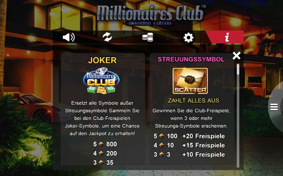Amaya Millionaires Club Vorschau Joker