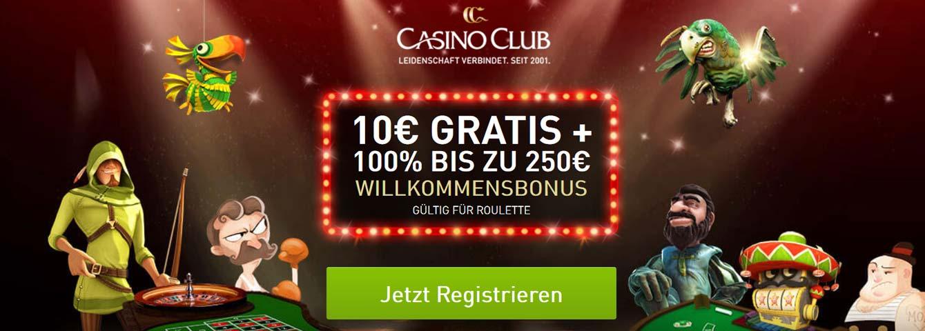 CasinoClub 10 Euro gratis Bonus