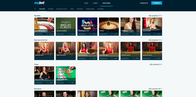 MyBet Vorschau Live Casino