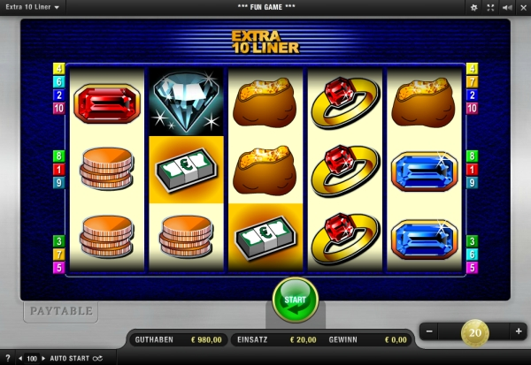 Extra 10 Liner - 5 Walzen Online Slots legal im Onlinecasino spielen OnlineCasino Deutschland